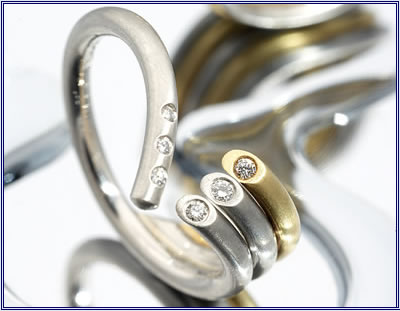 Photo of engagement and wedding rings